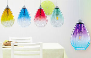 Image is loading Modern-Retro-Gradient-Coloured-Glass-Teardrop-Pendant-Light -