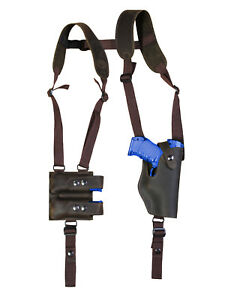 NEW Tan Leather Shoulder Holster w// Dbl Mag Pouch Astra Beretta Compact 9 40 45