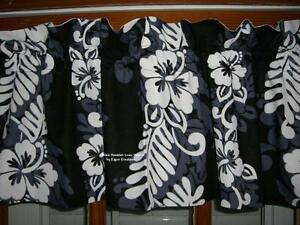 HAWAIIAN-black-white-floral-LUAU-tropical-HIBISCUS-FLOWER-custom-lined-VALANCE