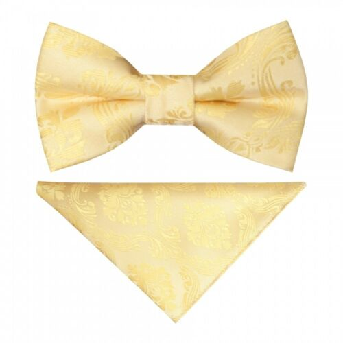 Pre Tied Gold Paisley Boys Bow Tie Pocket Square Set Kids Dickie Bow Childrens