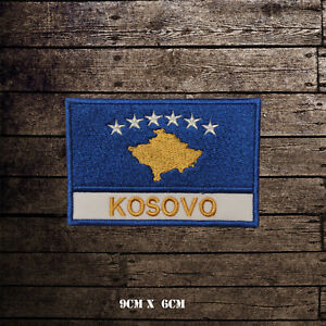KOSOVO-Flag-With-Name-Embroidered-Iron-On-Sew-On-Patch-Badge-For-Clothes-Etc