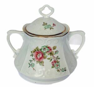 Chodziez-Sugar-Bowl-lid-Poland-saucer-antique-porcelain-china-flower-floral-rose