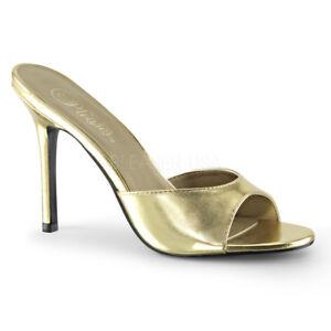 4e8400c81 Image is loading Pleaser-CLASSIQUE-01-Womens-Gold-Metallic-Open-Toe-