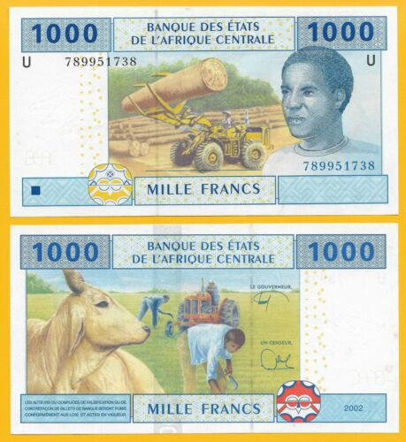 p-207Ue 2002 UNC Banknote Central African States 1000 Francs Cameroon U