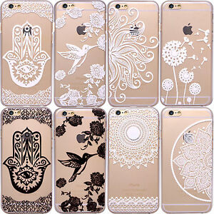 Henna-Mehndi-MANDALA-PAISLEY-Vogel-Clear-Handy-Huelle-iPhone-7-Plus-8-6-6S-5S-5-SE