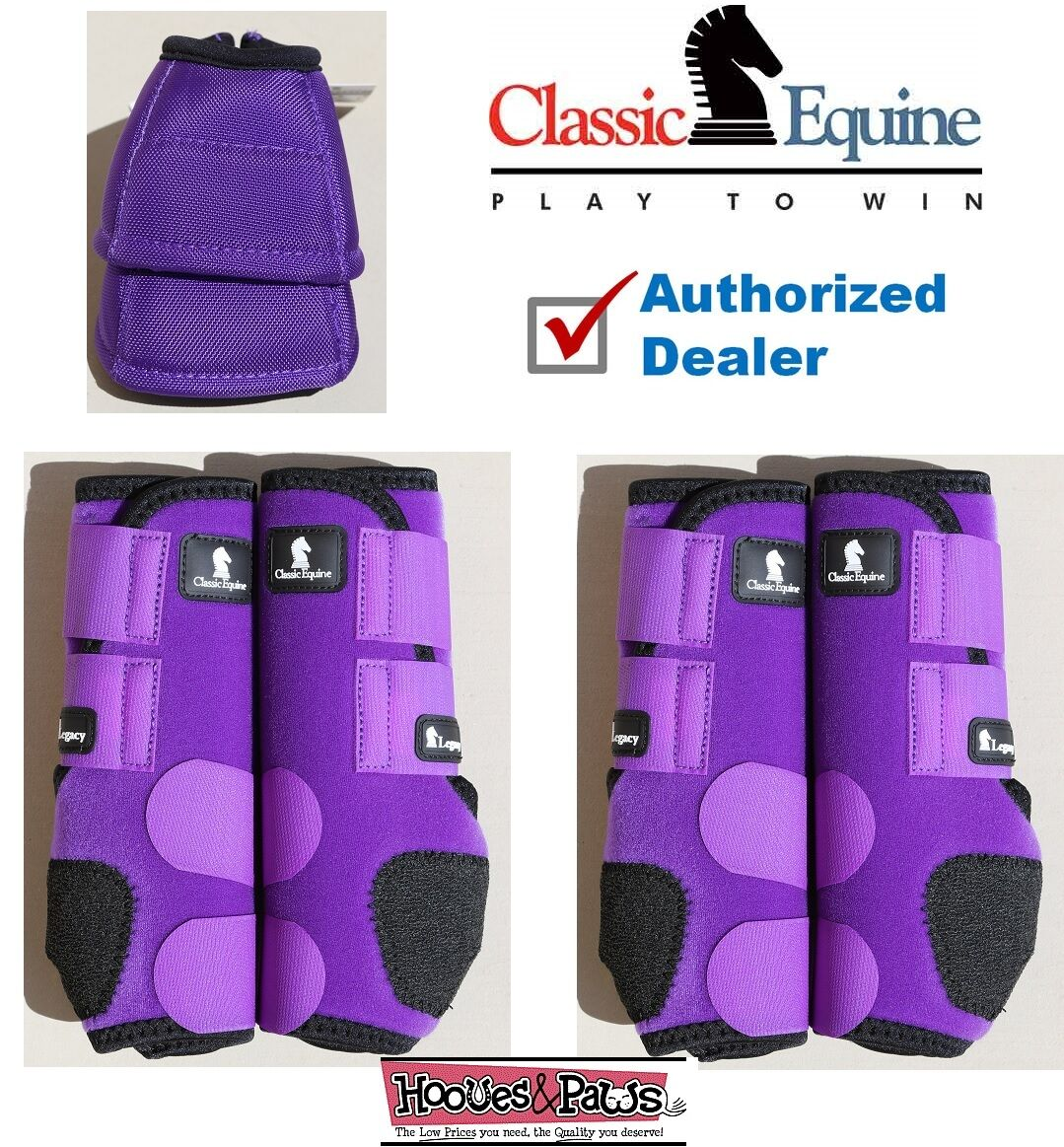 SMALL lila CLASSIC EQUINE Front Rear Legacy Sport Horse Leg Bell No Turn Bell Leg Stiefel b47d7d