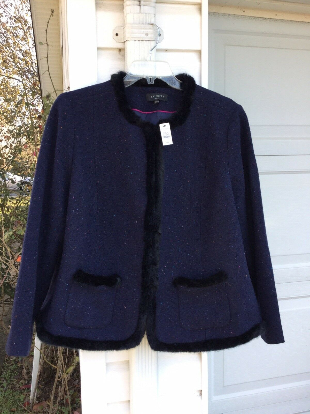 NWT Talbots Beautifully Made Navy Wool Faux Fur Trimmed Lined Blaze 16W 1X