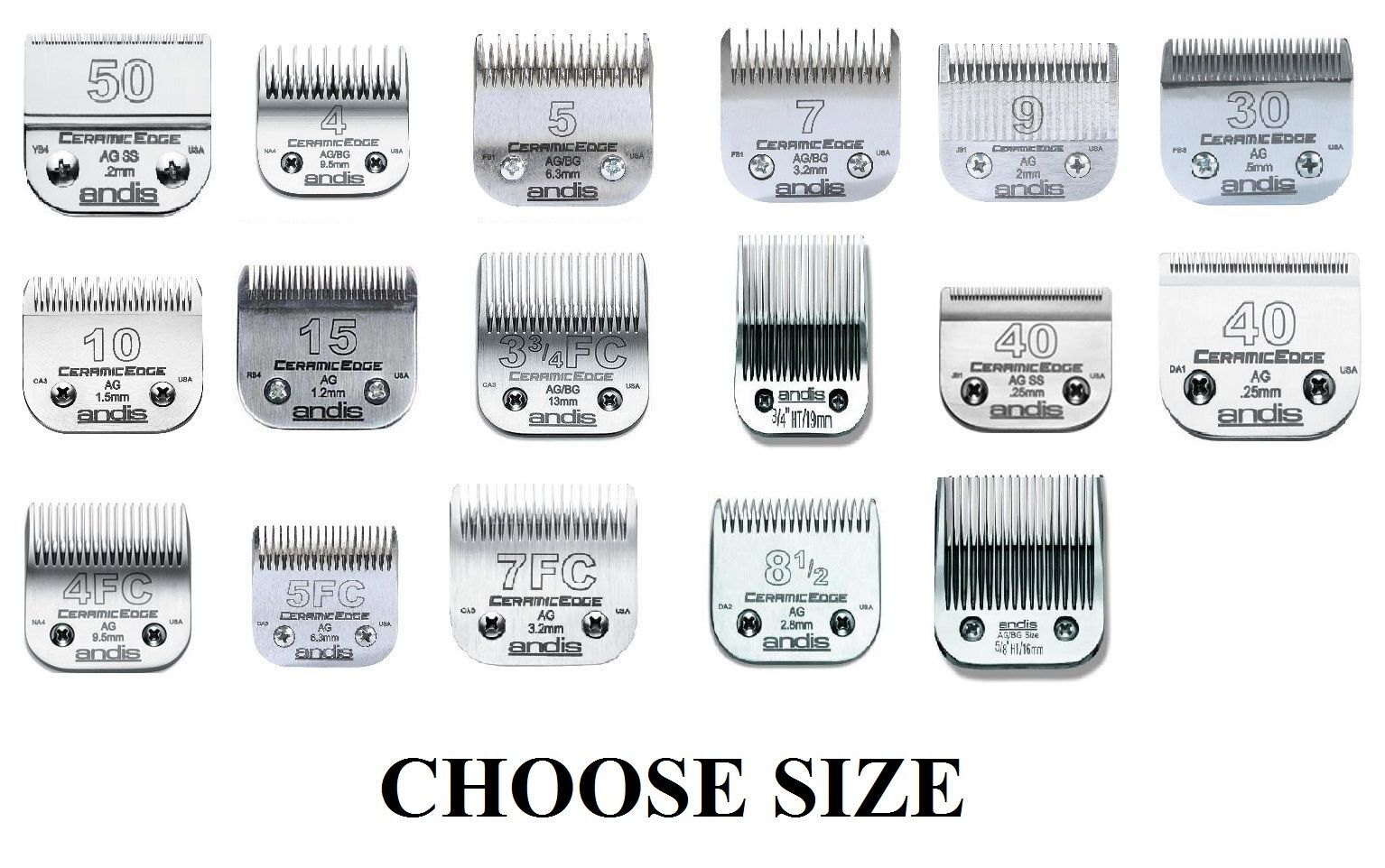 Stainless Steel Pro Quality Grooming CERAMIC EDGE CLIPPER BLADES CHOOSE Dimensione