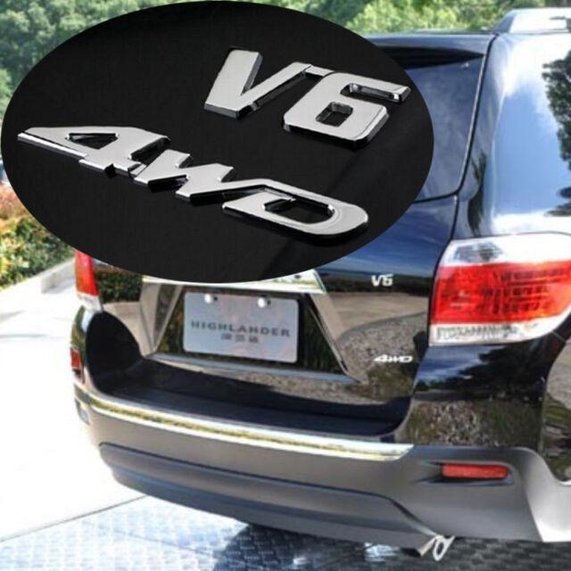 Offroad SUV Rear Tailgate Trunk Chrome 3D 4WD + V6 Emblem Metal Sticker Badge