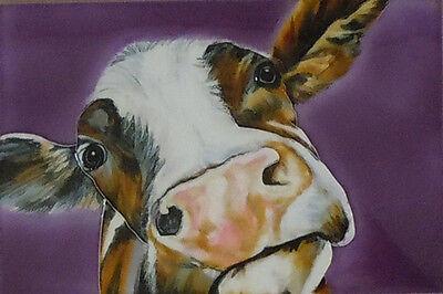 """Soppy Cow Fenner Art Decorative Ceramic Picture Tile Farm Kitchen 8x12"""" 05217"""