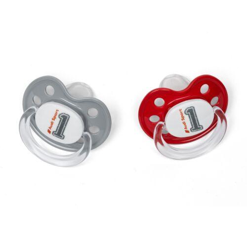 grau//rot BPA frei Audi Babyschnuller Schnuller 2er-Set mit Band