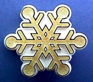 Hallmark-PIN-Christmas-Vintage-SNOWFLAKE-Gold-Glitter-Holiday-Brooch