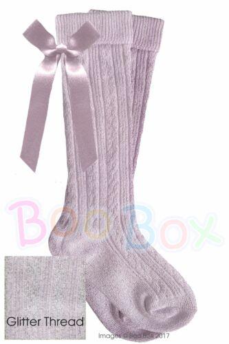 Baby Girls Espagnol Style Hautes Chaussettes volants ribbons bows Nouveau-Né 6 ans