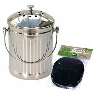 Image Is Loading Stainless Steel Kitchen Compost Pail Caddy Food Waste