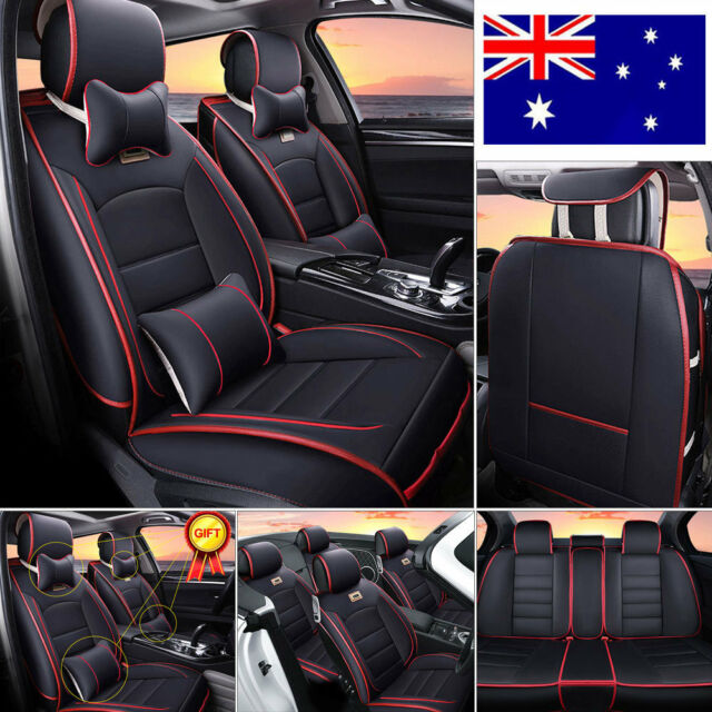 Universal Deluxe PU leather Car Seat Cover Full Front+Rear Cushion 5-Seat Pillow