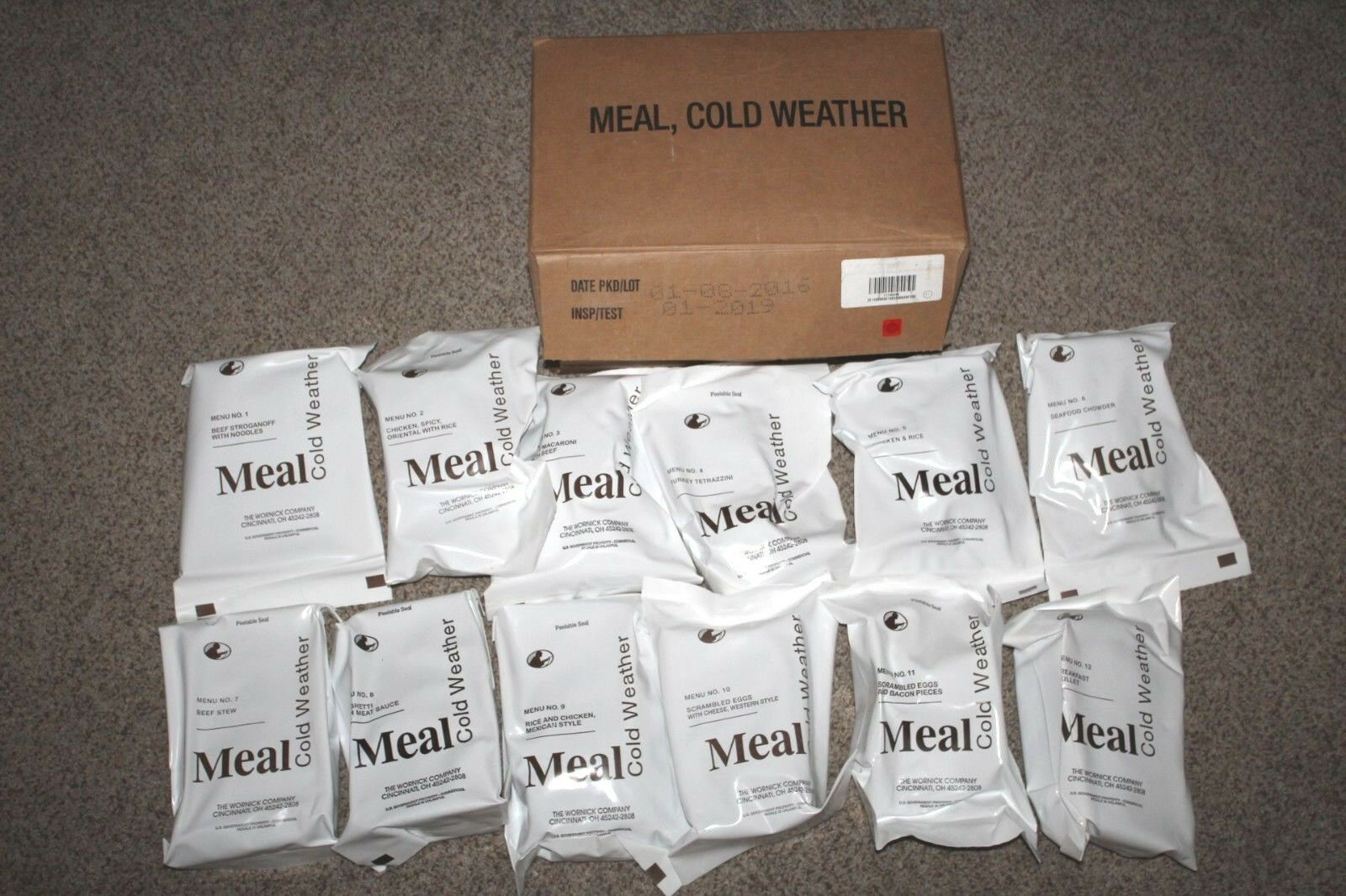 US Military Cold Weather 2021 MCW  MRE's 12 Mountain House Dehydrated Meals