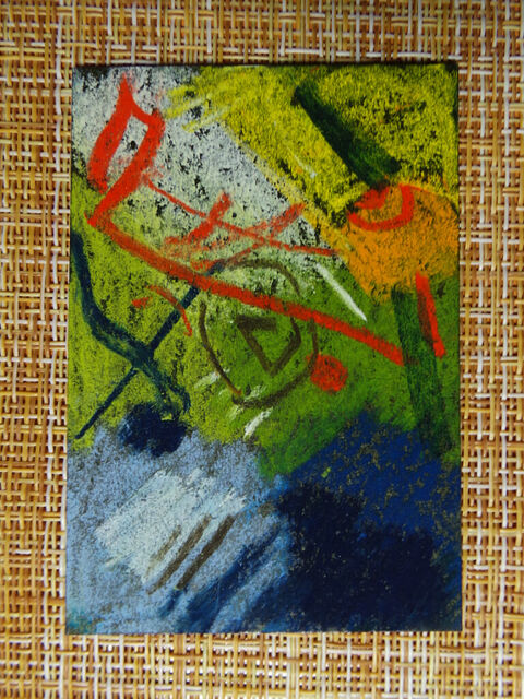 ACEO original pastel painting outsider folk art brut #010322 abstract surreal