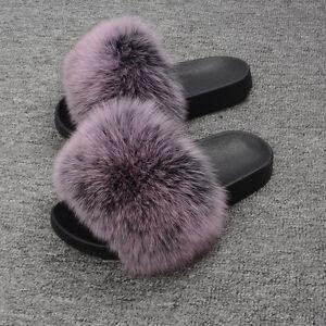 867da4a5ea19 2019 New Flat Women Real Fox Fur Sliders Slippers Indoor Outdoor ...