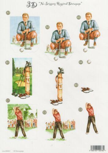 Cardmaking Scrapbooking Teeing Off Golfing 3D Die Cut Decoupage A4 Sheet 451