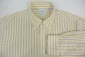 Brooks-Brothers-Non-Iron-Stretch-Slim-Fit-Yellow-Blue-Stripe-Men-039-s-Shirt-XL