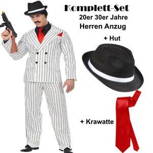 on sale d7435 9a750 GANGSTER ANZUG Komplett Set Mafia 20er 30er Herren Kostüm ...