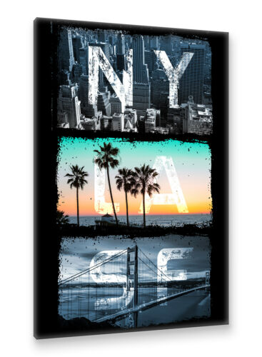 New York Los Angeles San Francisco Golden Gate Postereck Leinwand 2024 USA