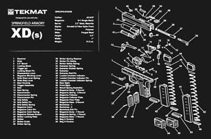 Details about Springfield XD(s) Armorers Gun Cleaning Bench Mat Exploded on pa-63 schematic, buck knife schematic, p m schematic, xds schematic, springfield xd schematic, glock schematic, ak-47 schematic, springfield 9mm schematic,
