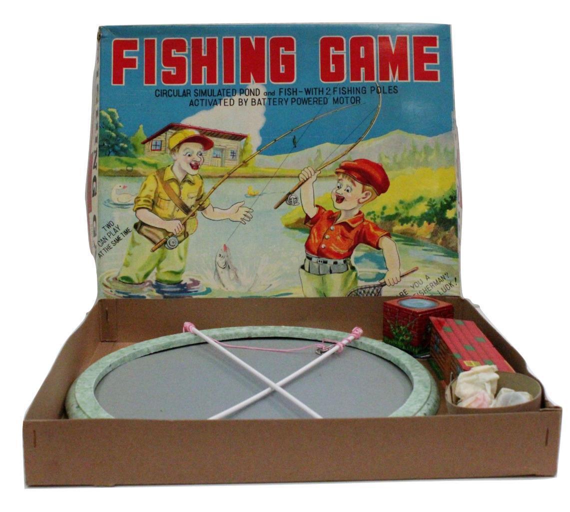 Juegos de pesca japoneses clásicos de los años 50, baterías, baterías, baterías, cajas de juguetes originales 90233. d5a