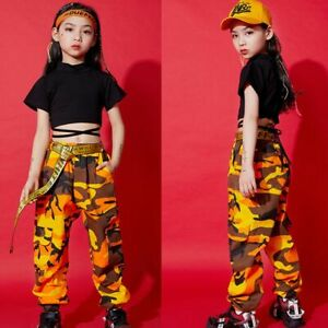Details about Hip Hop Modern Girls Street Dance Wear Costume Jazz Kids  Clothes Performance
