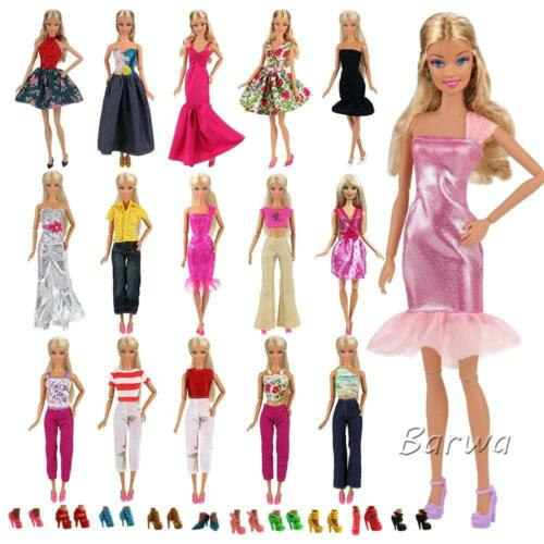 15PC 5 Sets Fashion Casual Wear Clothes//outfit 10 Pair Shoes Barbie Doll Gift A