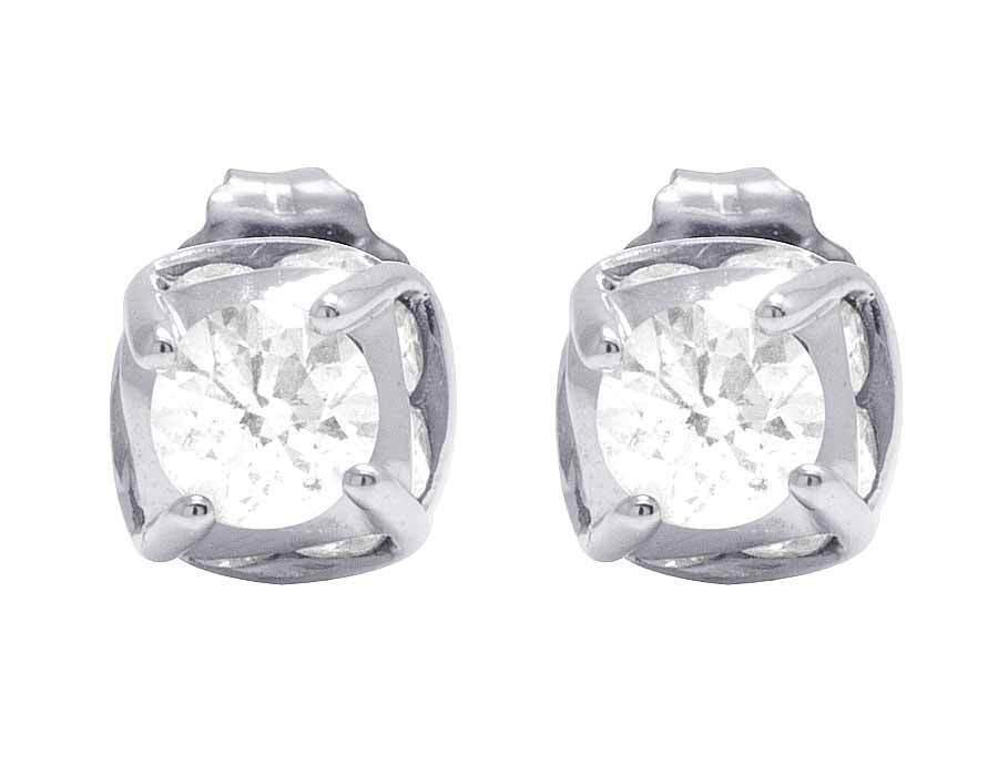 14K White gold Genuine Diamond Solitaire Studs Earrings 1 1 2 Ct 7MM