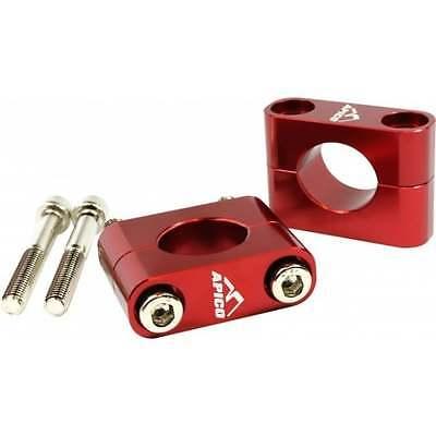 Apico Trials Motor Bike Handlebars Bar Mounting Kit Red For Fat Bars 28.6mm