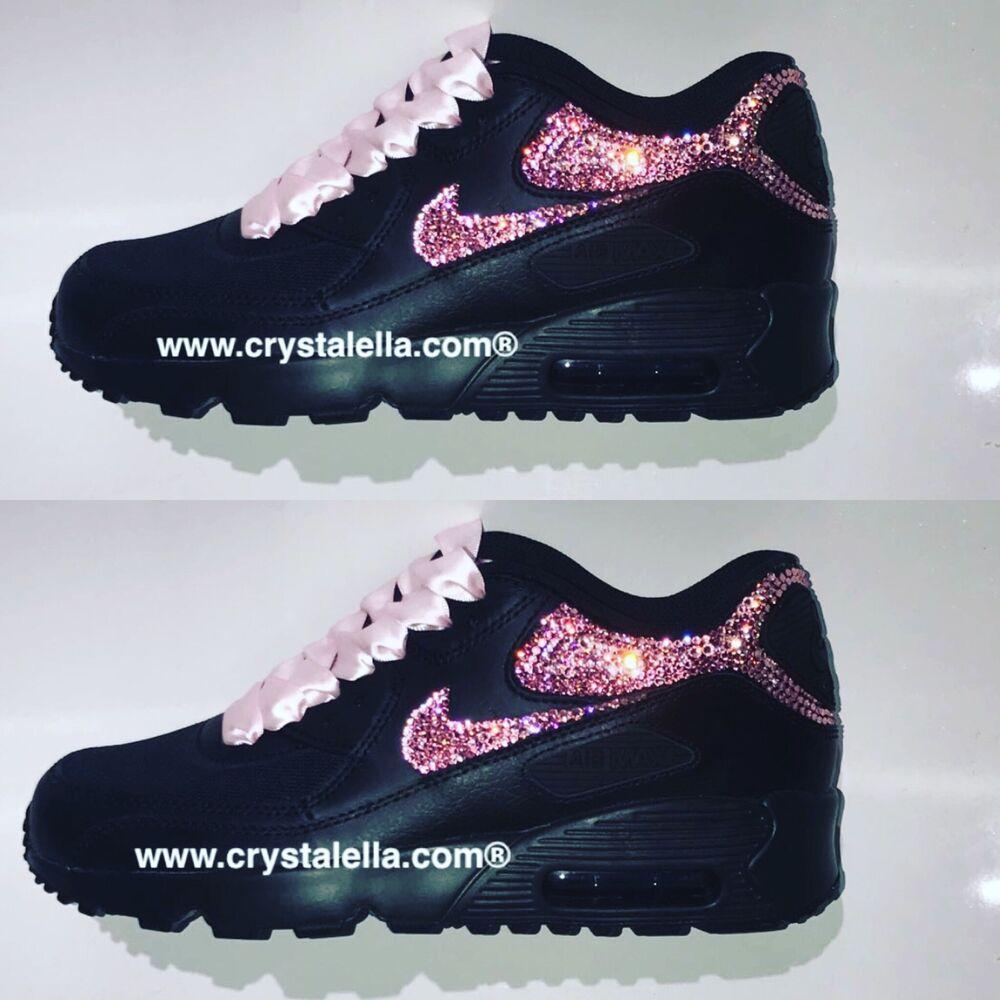 Noir Nike Air Max 90 Genuine Rose Rose Cristaux- Chaussures et de sport pour hommes et Chaussures femmes 8bf45b