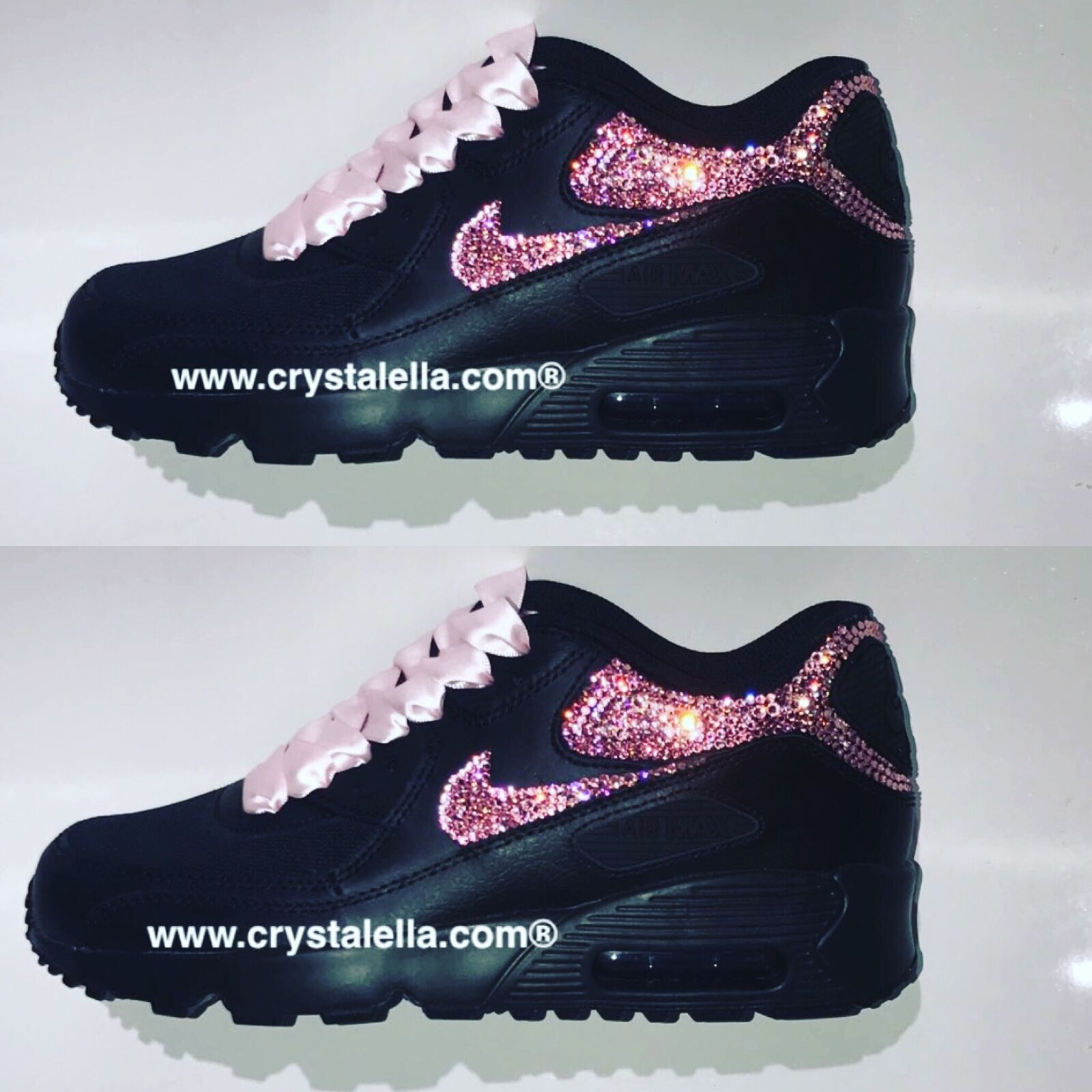noir Nike Air Max 90 Genuine Crystals used for Backs & X2 Ticks/Swoosh