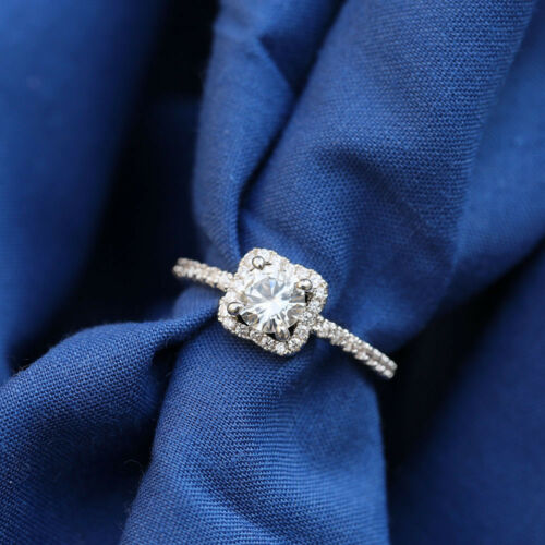 Classic White Sapphire Solitaire Wedding Ring 925Silver Women Engagement Jewelry