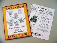 Briggs Stratton Model Y Service Repair Owner Operator Operating Part Manual