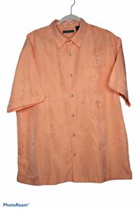 CUBAVERA-Button-Up-Shirt-Herren-Orange-Floral-Hawaiian-Kurzarm-Casual-Groesse-L