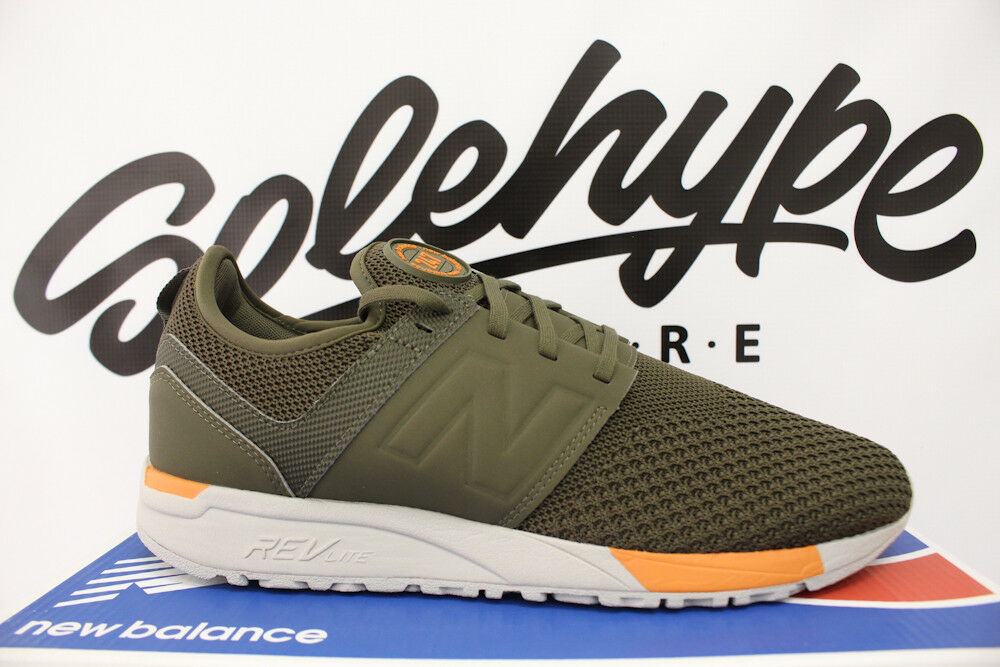 NEW BALANCE 247 OLIVE GREEN ORANGE WINTER KNIT RUNNING SHOE MRL247KO SZ 11.5