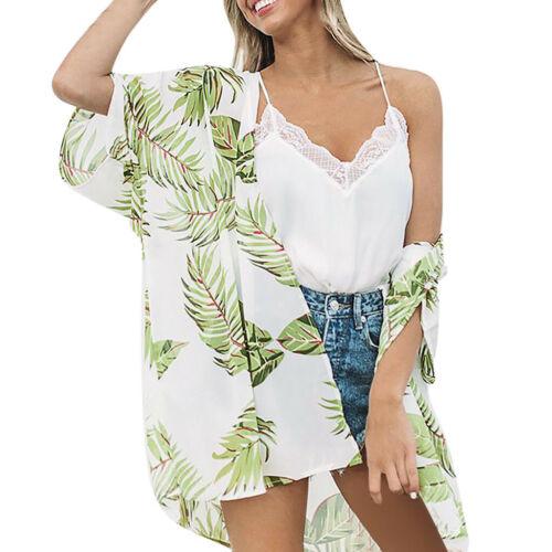 Women Leaves Print Beach Kimono Cardigan Chiffon Blouse Shawl Baggy Top Outwear