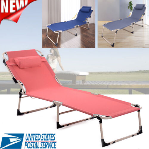 Folding Chaise Lounge Chair Patio Outdoor Pool Sun Beach Lawn Recliner Chair US
