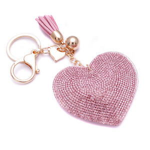 Hot-Fashion-800-Crystals-Rhinestones-Pink-Heart-For-Women-Keyring-Handbag-Bag