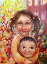 European Art Original Oil Painting On Canvas MONICA BLATTON children boy girl
