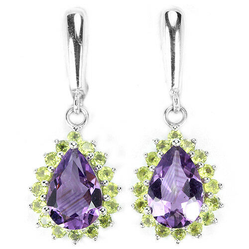 Sterling Silver 925 Genuine Natural Amethyst & Peridot Cluster Earrings