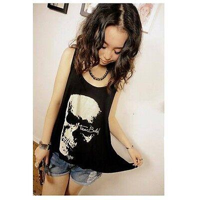 Women Fashion Irregular Hollow Crew Neck Skull Loose Vest Shirt Blouse Tops S