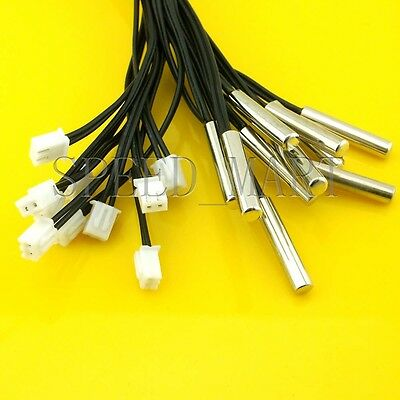 10pcs NTC 10K Ohm 1% 3950 Thermistor temperature sensor Waterproof Probe 1m Wire