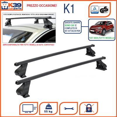 [500x] Barre Portatutto Portapacchi Con Attacchi Specifici Fiat 500x Acciao K39