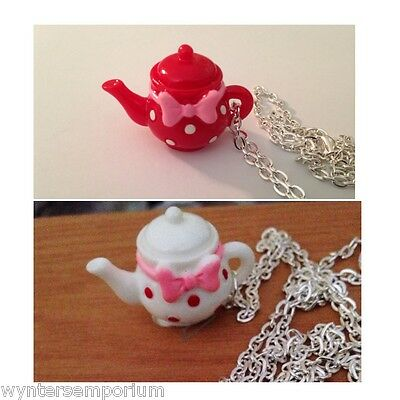 White or Red with Pink Ribbon Bow Spots Alice TeaPot Tea Pot Necklace