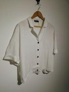 Zara-Size-L-Uk-14-16-White-Shirt-Sleeve-Oversized-Blouse-Shirt-Black-Buttons