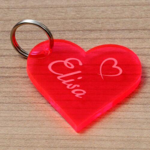 Plexiglas ® Neon chérie-Pendentif en Verre Acrylique Porte-clés avec Gravure Souhait