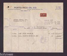 VINTAGE INVOICE / PORTO RICO OIL CO / SAN JUAN PUERTO RICO / 1949